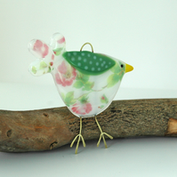 Rose Pattern Fused Glass Bird Decoration