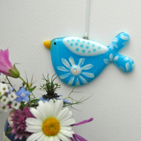 Fused Glass Blue Flowery Bird Decoration