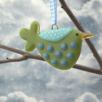 Green Spotty Fused Glass Bird Decoration