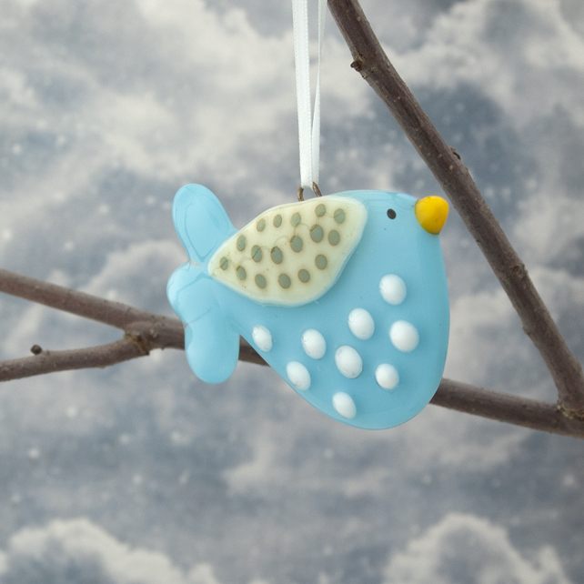 Turquoise Spotty Fused Glass Bird Decoration