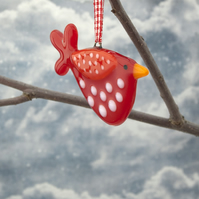 Red Spotty Fused Glass Bird Decoration