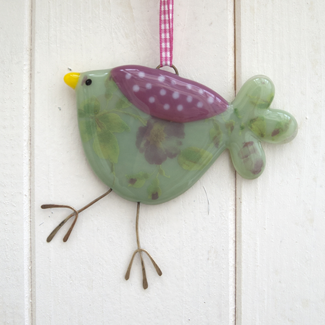 Green Rose Patterned Fused Glass Bird Decoration