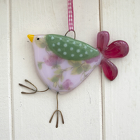 Pink Rose Fused Glass Spotty Bird Decoration