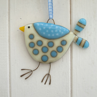 Turquoise and Cream Spotty Fused Glass Bird Decoration