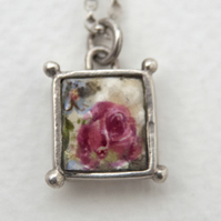Vintage Rose China Flower Box Pendant