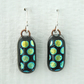 Spotty Fused Glass Black Dichroic Drop Earrings