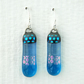 Fused Glass Blue Dichroic Drop Earrings