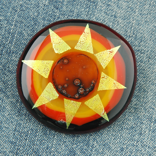 Fused Dichroic Glass Sun Brooch