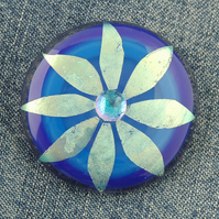 Fused Dichroic Glass Flower Brooch
