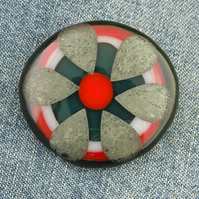Fused Glass Palladium Foil Flower Brooch