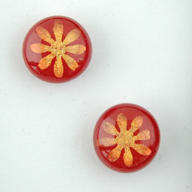 Fused Dichroic Flower Red Stud Earrings
