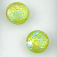 Fused Dichroic Glass Lime Green Stud Earrings