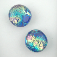 Fused Blue Dichroic Glass Stud Earrings