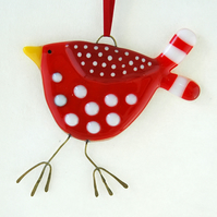Fused Glass Red Spotty Bird Decoration