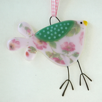 Pink Roses Fused Glass Bird Decoration