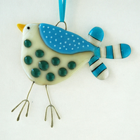Fused Glass Spotty Bird Decoration