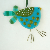 Fused Glass Turquoise Spotty Bird Decoration