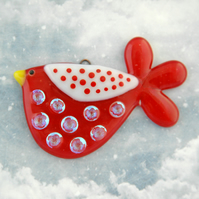 Red Fused Glass Spotty Bird Decoration