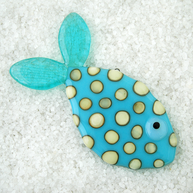Fused Glass Spotty Fish Decoration