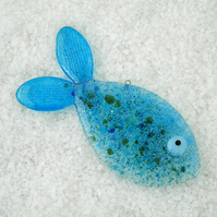 Fused Glass Bubble Fish Decoration