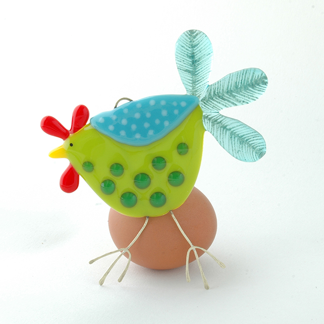 Spotty Fused Glass Chicken Decoration