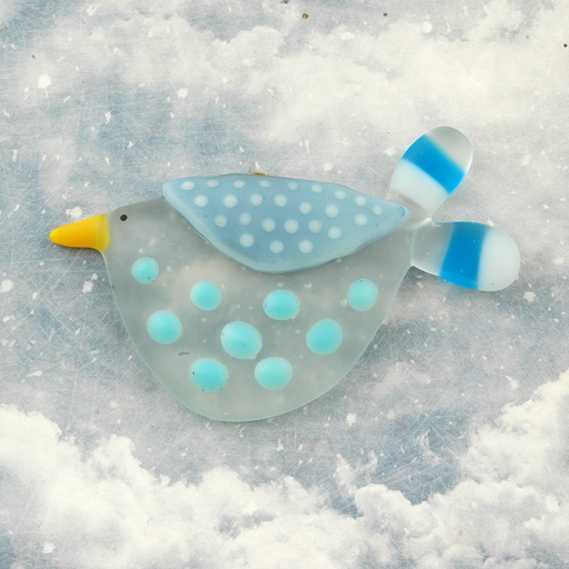 Fused Glass Little Bird Decoration