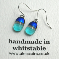 Sparkly Blue Dichroic Glass Drop Earrings