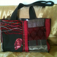 Patchwork Brown & Red tote Bag