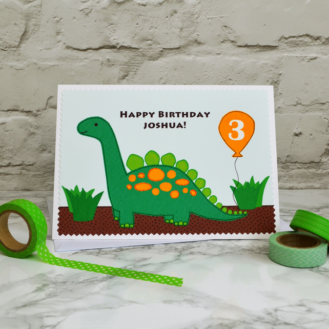 Dinosaur Personalised Childrens Birthday Card
