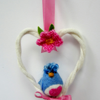 Blue Needlefelt Love Bird in a Woolly Heart