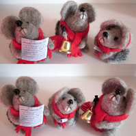 Set of Three Carol Singing Mice
