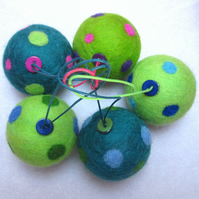 Needlefelt Spotty Baubles - Greens and Blues SALE