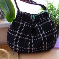 Black and white cosy wool plaid bag