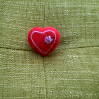 Needle felted red heart brooch