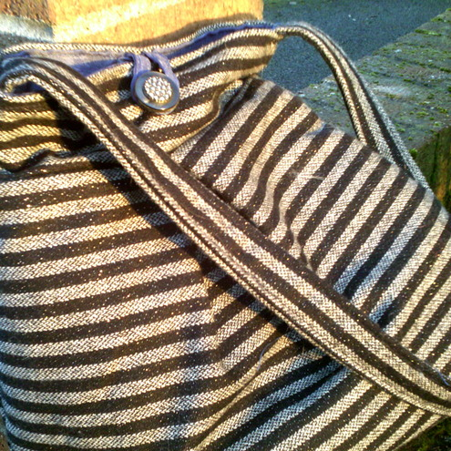 Stripy sailor bag