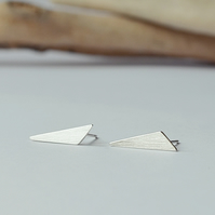 Sterling Silver Triangle Studs - Obtuse