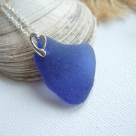 Blue sea glass pendant, sterling silver heart bail, sea glass necklace, blue sea
