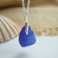 Bonfire Scottish blue sea glass necklace, cobalt blue bonfire sea glass, organic