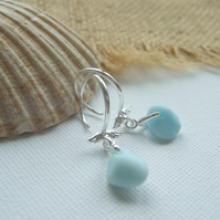 Pastel Blue Seaham sea glass earring, baby blue jadeite sea glass earrings, 1950