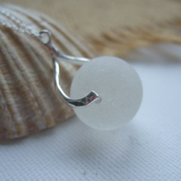 Minimalist sea glass white Codd bottle marble necklace, beach marble necklace