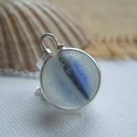 Blue marble necklace, Blue white black cat's eye marble necklace, sea glass