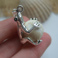 Frog necklace, sea clay marble in silver plated frog pendant, beach find marble