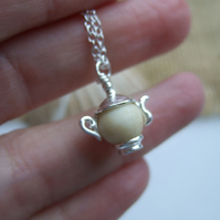 Sea Glass Bead Necklace, Beach Bead Seaham Teapot Necklace, White Sea Glass Bead