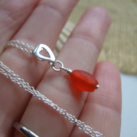 Sea glass bead necklace, red Scottish beach find bead pendant heart, romantic