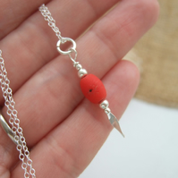 Scottish sea glass bead necklace, red glass bead necklace, puristic bead