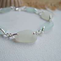 Scottish sea glass bracelet, mermaids tears, white sea foam beach glass bracelet