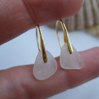 WATERDROPS... Elegant 24K gold plated on sterling silver earrings, white beach