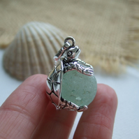 Sea glass marble turtle necklace, silver plated turtle pendant, sea foam