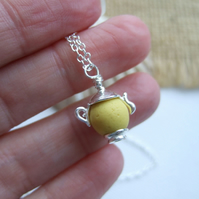 Sea Glass Bead Necklace, Beach Bead Seaham Teapot Necklace, Yellow Sea Glass