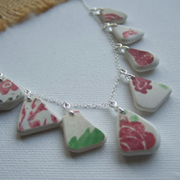 Scottish sea pottery necklace, beach china red flower pattern necklace, unique